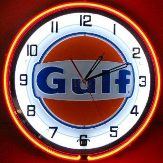 """GULF 18"""" NEON LIGHTED WALL CLOCK GASOLINE GAS FUEL PUMP OIL TANKER SIGN ORANGE NEW   Conduit Fittings"""