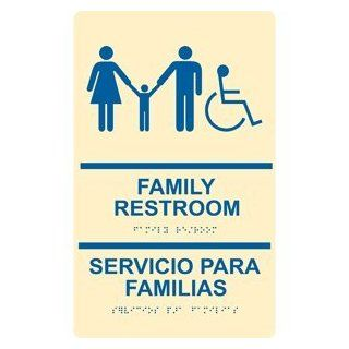 ADA Family Restroom Bilingual Braille Sign RRB 170 BLUonIvory