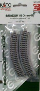 "Kato N Scale Unitrack   6"" 150 mm Radius 45 Degree Curved Track 4 Pack KA 20 174: Toys & Games"