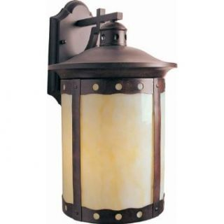 Forte Lighting 10032 01 41 Transitional 1 Light CFL Exterior Wall Lantern, Rustic Sienna Finish with Honey Glass: Home Improvement