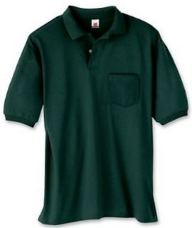 Men's 5.2 oz Hanes Comfortblend Ecosmart Jersey Pocket Polo 0504, 2XL, Ash Clothing