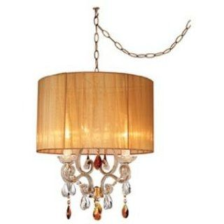 Clear and Amber Beaded Brown Ribbon Shade Swag Pendant   Chandeliers