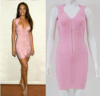 Donner� Celebrity Lady's Pink Sexy Front Zipper Bandage Mini Party Dress (Medium): Beauty