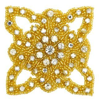 "Rhinestone Beaded Applique, Beaded Patch, 3 1/4"", CRYSTAL/GOLD, FF J06 176: Home & Kitchen"