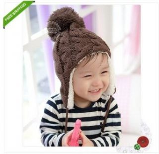 1pc Brown New Crochet Baby Toddler Girl Boy Thicken Winter Warm Hat Cap Earflaps: Clothing