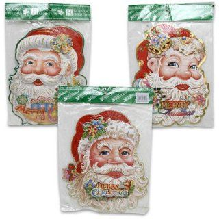 "3 Pack 13""h Merry Christmas Paper Santa with Glitter Pop up Decoration"