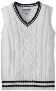 Kitestrings Boys 2 7 Little Cotton Solid Cable Knit Sweater Vest, White, 5/6: Clothing