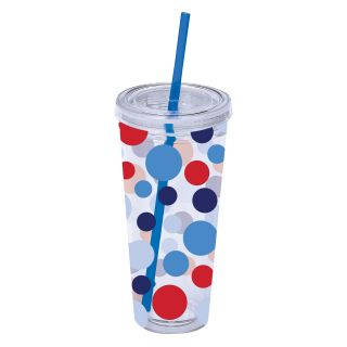 Boston Warehouse Patriotic Scatter Dots 22 oz. Insulated Tumbler with Straw   Outdoor Drinkware
