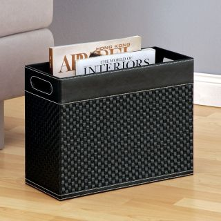 Black Faux Leather Woven Magazine Rack   Home Magazine Racks