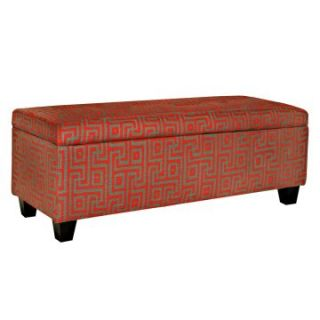 angelo:HOME Kent Storage Bench Candy Red and Brown Maze   Ottomans