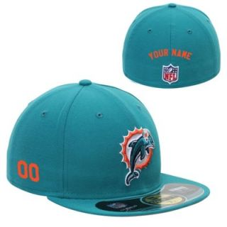 New Era Miami Dolphins Mens Customized On Field 59FIFTY Football Structured Fitted Hat
