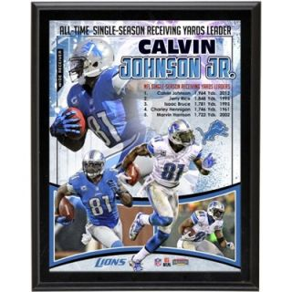 Calvin Johnson Detroit Lions All Time Receiving Yard Record Sublimated 10.5 x 13 Player Collage Photo Plaque