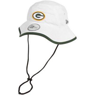 New Era Green Bay Packers Training Bucket Hat   White