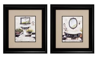 Black and White Bathroom Framed Wall Art   Set of 2   17W x 19H in. ea.   Framed Wall Art