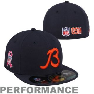 New Era Chicago Bears Breast Cancer Awareness On Field 59FIFTY Fitted Performance Hat   Navy Blue