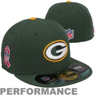 New Era Green Bay Packers Breast Cancer Awareness On Field 59FIFTY Fitted Performance Hat   Green