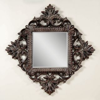 Dark Cherry with Distressing Decorative Mirror   50W x 50H in.   Wall Mirrors