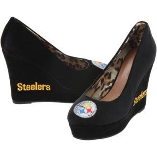 Cuce Shoes Pittsburgh Steelers Ladies Groupie II Wedge Shoes   Black