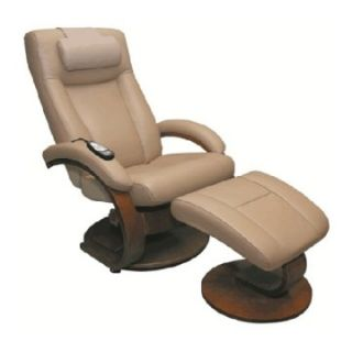 MAC Motion Oslo Collection Shiatsu Massage Top Grain Leather Swivel Recliner with Ottoman   Cobblestone Tan   Home Theater Seating