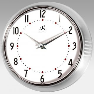 Infinity Instruments Silver Round Metal Retro Wall Clock   Wall Clocks
