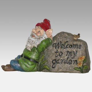 Garden Gnome and Rock Welcome Sign   Garden Statues