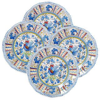 Le Cadeaux 11 in. Rooster Blue Dinner Plate   Set of 4   Outdoor Dinnerware