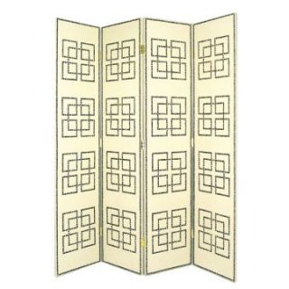 Full House 4 Panel Leather Screen with Nail Head Design   Room Dividers