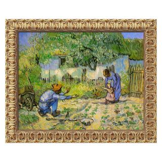 First Steps, 1890 Canvas Wall Art by Vincent van Gogh   24W x 20H in.   Framed Wall Art