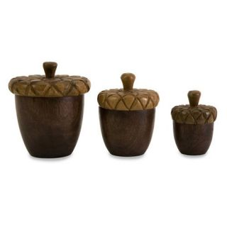 Ronan Wood Carved Acorn Lidded Boxes   Set of 3   5 diam x 6.5HH in.   Decorative Boxes