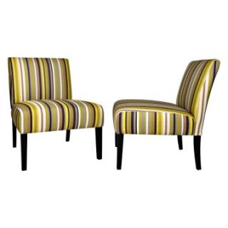 ... AngeloHOME Bradstreet Chair Set Sunflower Yellow Stripe Accent Chairs  ...