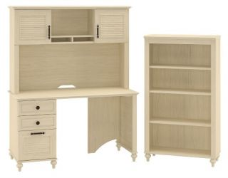 kathy ireland Office by Bush Furniture Small Office Bundle with Bookcase BBF Collection   Driftwood Dreams   Computer Desks