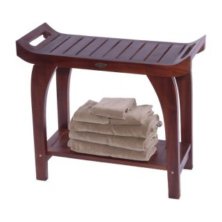 Decoteak Tranquility Teak 30 in. Extended Height Bench with Lift Aide Arms   Shower Seats