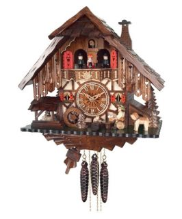 River City Clocks MD414 14 Beer Drinker with Waterwheel and Dancers Musical Cottage Cuckoo Clock   Cuckoo Clocks