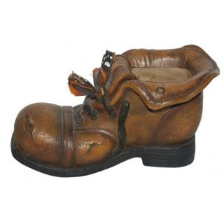 Old Boot With Butterfly Cast Resin Garden Statue   Garden Statues