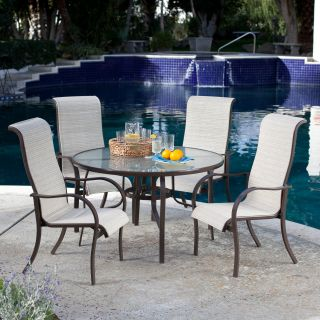 Coral Coast Del Rey Deluxe Padded Sling Patio Dining Set   Seats 4   Patio Dining Sets