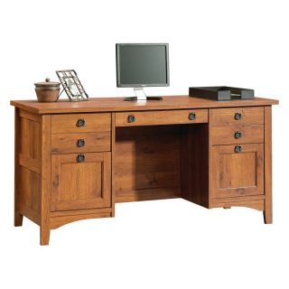 Sauder Rose Valley Computer Credenza   Abbey Oak   Computer Desks