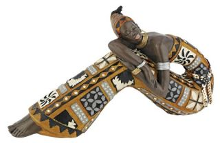 Design Toscano 6 in. Resting Bahiyah African Maiden Statue   Sculptures & Figurines