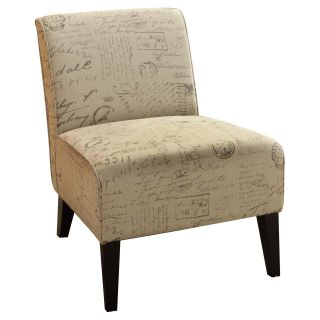 Armen Living Darby 2124 Vintage French Fabric Chair   Upholstered Club Chairs