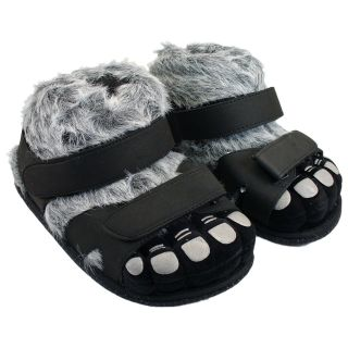 Comfy Feet Hairy Feet Black/Gray Slippers   Mens Slippers