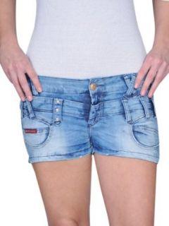 Cipo & Baxx Mega Sexy Damen Jeans Hotpants Hot Pants Jeanshose doppelter Bund CBW 323 mittelblau Bekleidung