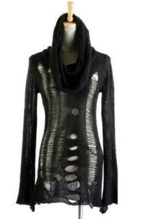 Shirt Kapuzen Loch Pullover Tunika Pulli Punk Rave Gothic Visual Kei Kera Lolita Gr. OS: Bekleidung