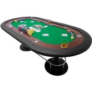 Pokertisch FULL HOUSE gr�n, 208 x 106 x 80 cm, Gewicht 50kg, massive MDF Platte, inkl 10 Getr�nkehalter Sport & Freizeit