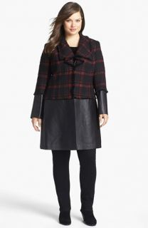 Lafayette 148 New York Cecille Plaid Tweed & Leather Coat (Plus Size)