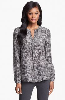 Lafayette 148 New York Samantha Print Silk Blouse