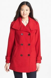 Ellen Tracy Double Breasted Wool Blend Peacoat