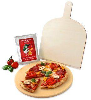 Vesuvo V32001 Pizzastein  / Brotbackbackstein Set f�r Backofen und Grill / rund 32cm / mit Pizzaschaufel und Pizzamehl Küche & Haushalt