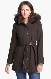 Ellen Tracy Genuine Coyote Fur Trim Belted Coat