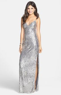 Sean Collection Beaded Silk Georgette Column Dress
