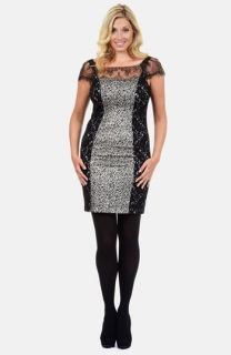 Kay Unger Lace Paneled & Foiled Knit Sheath Dress (Plus Size)