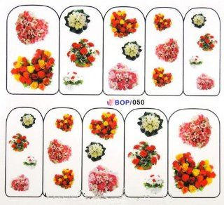 Egoodforyou BLE Water Slide Water Transfer Nail Tattoo Nail Decal Sticker Oil Portray (Bunches of Roses Flowers) with one packaged nail art flower sticker bonus: Beauty